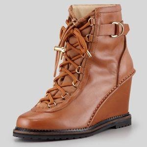 diane von furstenberg senna lace up wedge boot